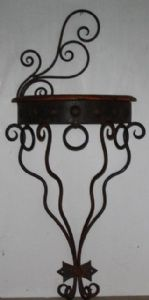 VINTAGE WALL MOUNTED SIDE TABLE ART NOUVEAU STYLE METAL STAND
